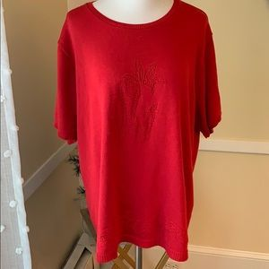 Alfred Dunner Woman Acrylic Sweater in 3X red!